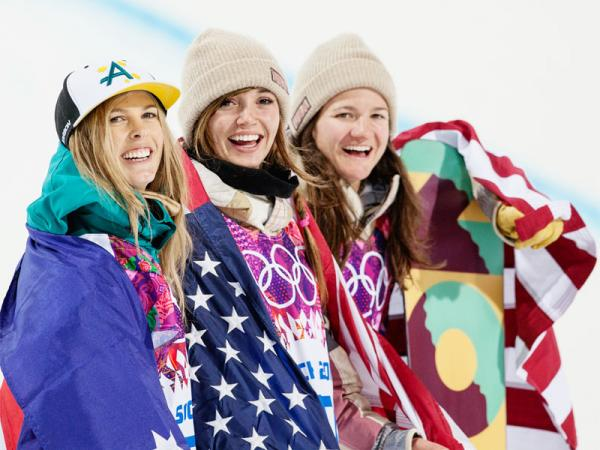 USA snowboarder Kaitlyn Farrington (center) of Bellevue, Idaho won gold in the women's halfpipe on Wednesday.