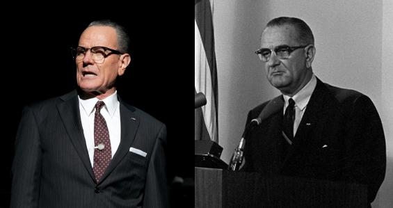 "At left, Bryan Cranston is pictured as Lyndon Johnson in ""All the Way."" At right is Lyndon Johnson. (Evgenia Eliseeva/American Repertory Theater)"