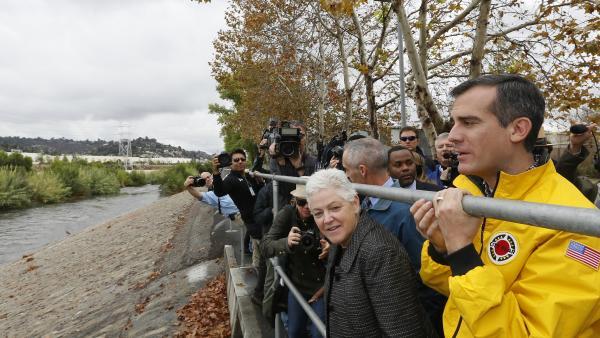 Mayor Garcetti and EPA Administrator Gina McCarthy tour the Los Angeles River last year. Garcetti plans to restore natural habitats along the river.