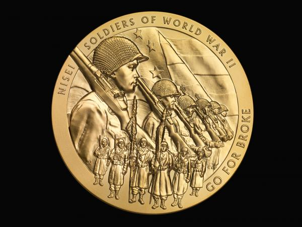 "The Congressional Gold Medal honoring Japanese-American veterans of World War II features the motto of the 442nd Regimental Combat Team — ""Go for Broke."""