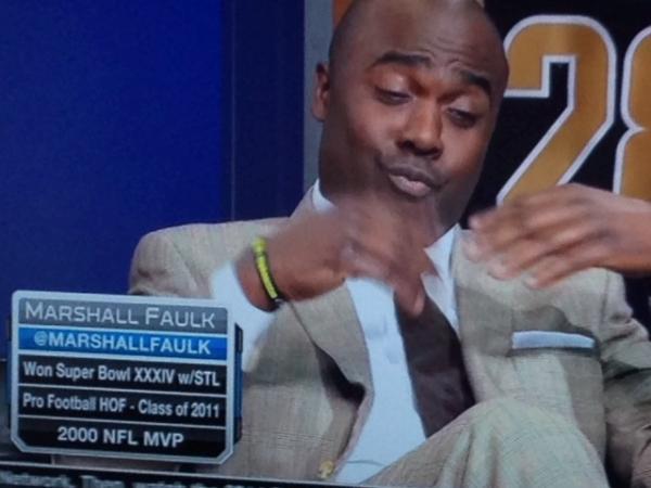 Former NFL player and sportscaster Marshall Faulk wears a Bowe Bergdahl bracelet on the NFL Network.