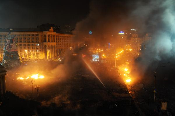 Fires burn in Independence Square on Wednesday.