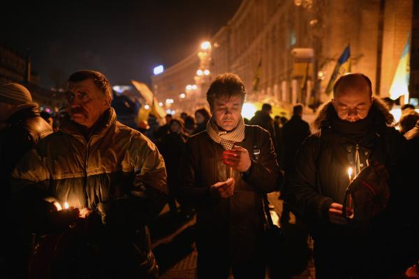 Prayers are held Thursday for victims of clashes between anti-government demonstrators and police in Kiev. Hours after a truce was declared, deadly clashes broke out again in Ukraine's capital.