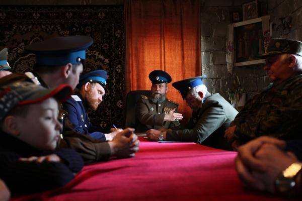 A meeting of Cossacks in Nizhny Tagil, a town in the Ural Mountains.