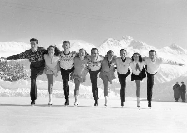 "The 1948 U.S. Olympic team  in St. Moritz. (From ""Pushing Dick's Button"")"