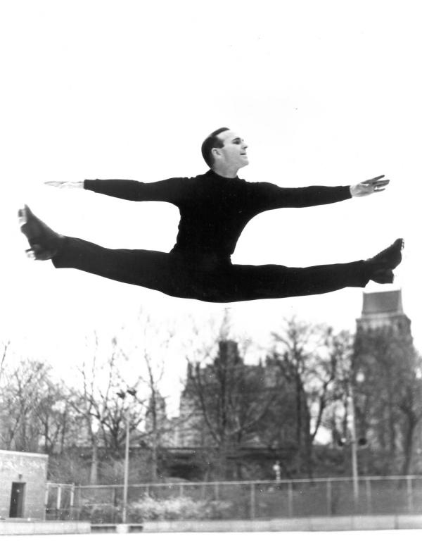 "Dick Button does a Russian split jump in Central Park, New York. (From ""Pushing Dick's Button"")"