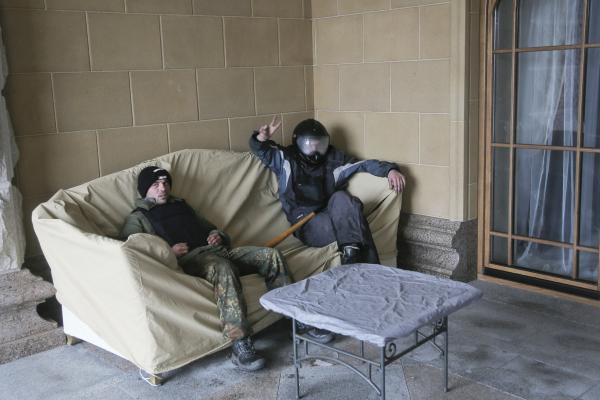 Protesters relax at the Ukrainian President Viktor Yanukovych's countryside residence in Mezhyhirya, Ukraine on Saturday.