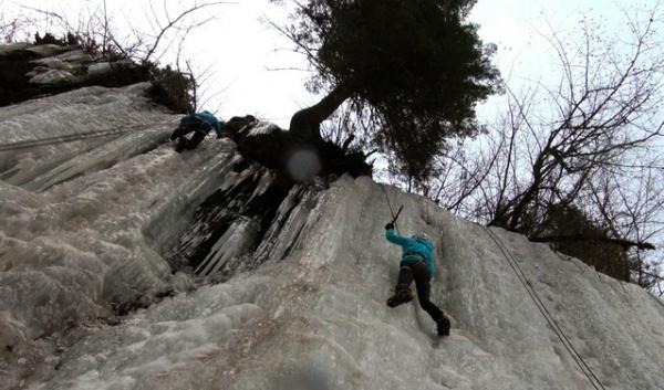Freshmen Laura Rey and Emma Massie are on their first ice climbing trip. Both want to continue ice climbing in the future. Some outdoor recreationalists are worried that climate change could threaten some ice climbing destinations.