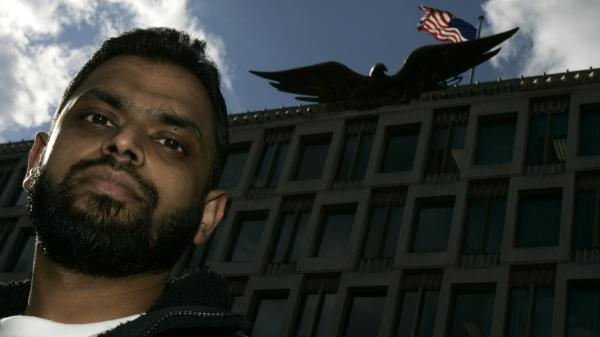 Moazzam Begg in front of the U.S. Embassy in London in 2006.