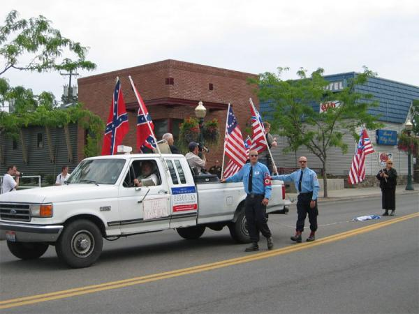 Members of the Aryan Nations march in Coeur d' Alene, Idaho in 2004.