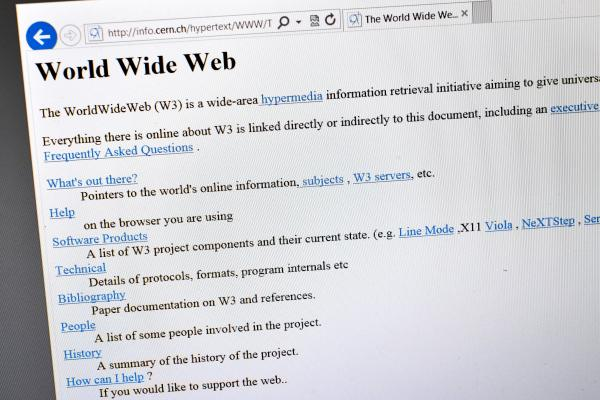 A 1992 copy of the world's first Web page. British physicist Tim Berners-Lee invented the World Wide Web in 1989.