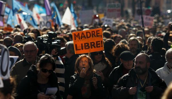 "Abortion-rights groups participate in a ""Freedom Train"" from Gijon, Spain, to Madrid on Feb. 1 to protest the government's plan to restrict access to abortion."