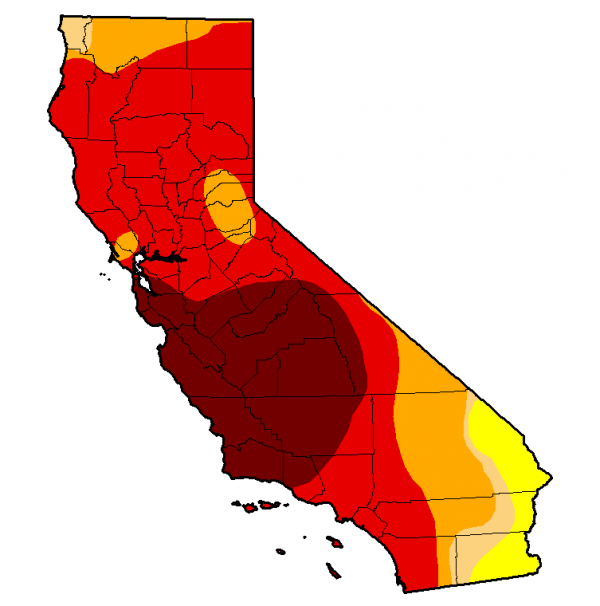 This is the latest snapshot of California from the U.S. Drought Monitor. The darker the shading, the more severe the conditions. The map is produced by the National Oceanic and Atmospheric Administration, the U.S. Department of Agriculture, and the National Drought Mitigation Center at the University of Nebraska, Lincoln.