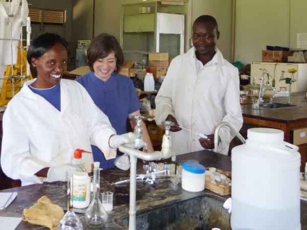 <p>Seeding Labs founder Nina Dudnik (second from right) tours the chemistry labs at Kenyatta University in Nairobi, Kenya, after a recent arrival of equipment from Seeding Labs. </p>