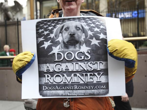 "A man holds a sign during a ""Dogs Against Romney"" demonstration outside the 136th Westminster Kennel Club Dog Show at New York's Madison Square Garden, on Tuesday."