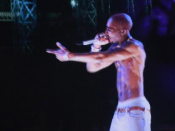 A holographic representation of Tupac Shakur seen during a performance by Snoop Dogg and Dr. Dre at the Coachella Valley Music & Arts Festival on Sunday, April 15.