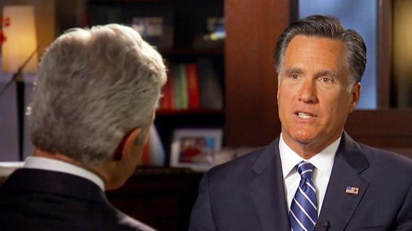 Mitt Romney talks with <em>60 Minutes</em> correspondent Scott Pelley.