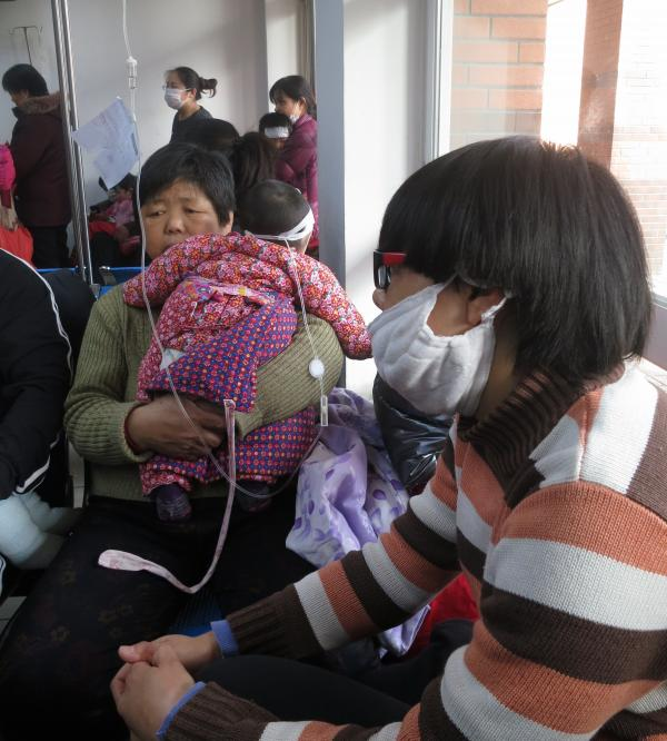 About 9,000 children per day consult doctors in Beijing's children's hospital, around a third of them suffering from respiratory disorders.