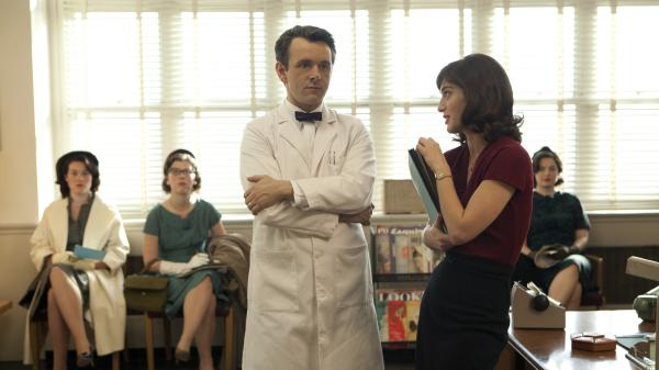 Michael Sheen and Lizzy Caplan play famous sex researchers William Masters and Virginia Johnson in a new series, <em>Masters of Sex.</em>