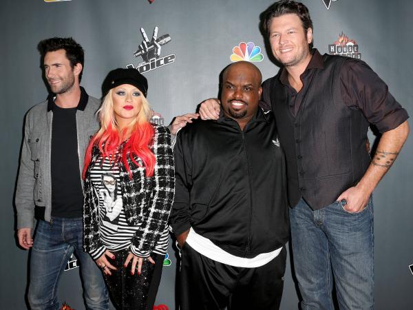 NBCUniversal's <em>The Voice </em>judges Adam Levine (from left), Christina Aguilera, CeeLo Green and Blake Shelton at the Season 3 Red Carpet Event at The House of Blues Sunset Strip in West Hollywood, Calif., in 2012.