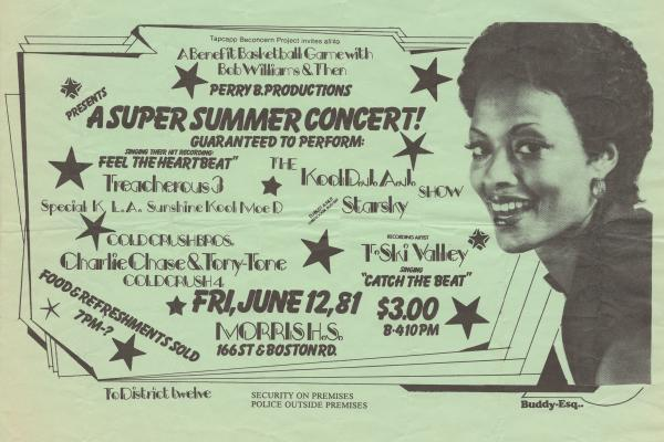 Buddy Esquire was a prolific handbill artist in hip-hop's early days in the South Bronx. This and the following slides are examples of his work — he taught himself how to draw and different styles of lettering by checking out books from the local library — and his flyers are some of the only surviving documents from hip-hop's birth.