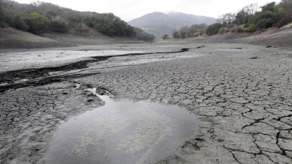 The cracked-dry bed of the Almaden Reservoir is seen on Feb. 7 in San Jose, Calif.
