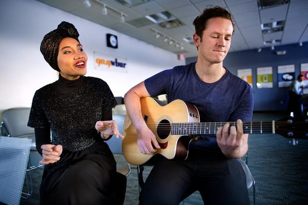 Yuna and Lincoln Jesser are pictured at the Here & Now studios. (Jesse Costa/Here & Now)
