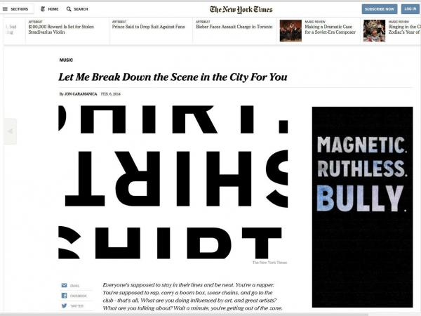 The rapper Shirt created a counterfeit article designed to look like it was written by the <em>New York Times</em> critic Jon Caramanica and published on the <em>Times' </em>website.