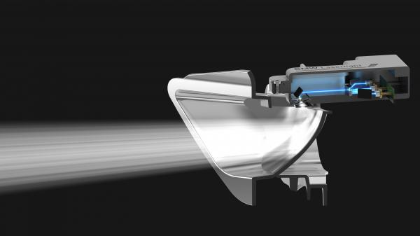 The headlight doesn't actually shoot out lasers. The lasers hit a phosphorus substance which produces the bright light.