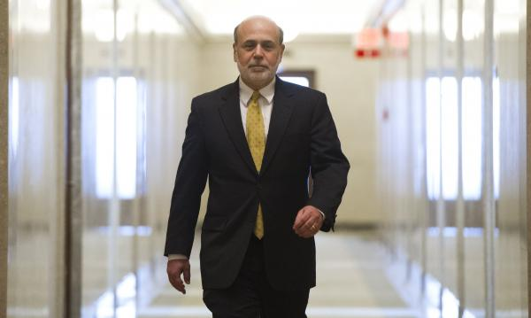 Ben Bernanke is seen leaving his Washington, D.C., office on Jan. 31, his last day as chairman of the Federal Reserve.