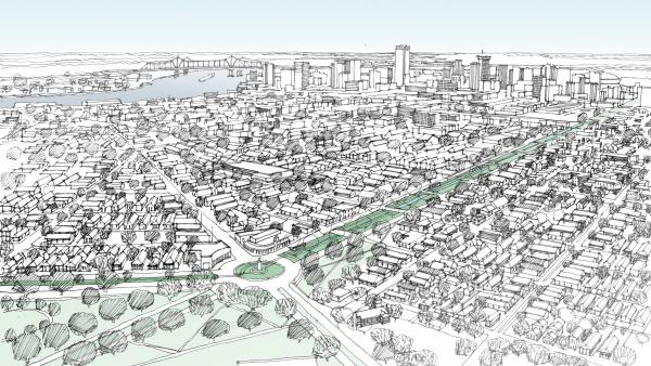 An artist's sketch of the revamped I-10/Claiborne Overpass in New Orleans.