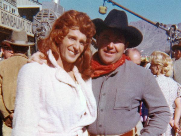 Dean Smith, doubling as Maureen O'Hara, with stuntman Lee McLaughlin on the set of <em>McClintock! </em>