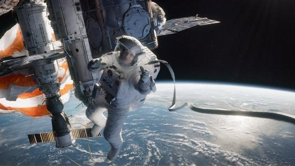 In Alfonso Cuaron's <em>Gravity,</em> one of nine best picture nominees in the running on Sunday night, Sandra Bullock plays an astronaut careening through space after an accident.
