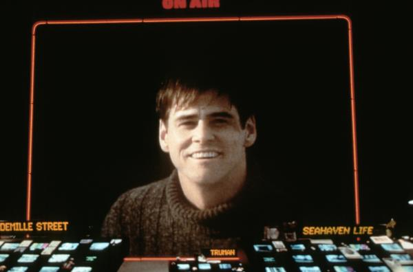 Jim Carrey as Truman Burbank, a man living in someone else's dream. The 1998 movie <em>The Truman Show</em> asks us to look at experience and reality with fresh eyes.