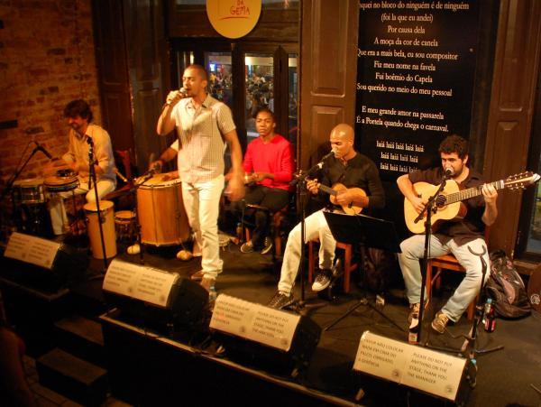 Samba singer Julio Estrela performs with his band at the Carioca da Gema club in Rio de Janeiro.