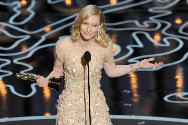 "Cate Blanchett took the Best Actress Oscar for <em>Blue Jasmine,</em> and promptly perplexed everyone by telling Julia Roberts to ""hashtag suck it."""