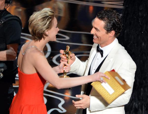 Jennifer Lawrence handed the Best Actor Oscar to Matthew McConaughey for <em>Dallas Buyers Club; </em>the actor delivered a typically goofy if ultimately sincere speech.