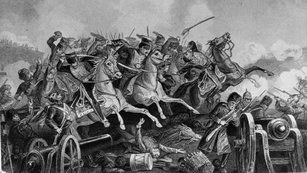An engraving depicts the ill-fated Charge of the Light Brigade at the Battle of Balaclava during the Crimean War.