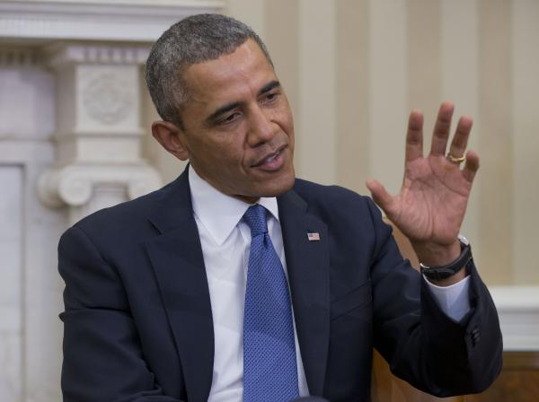 President Obama answers a question regarding the ongoing situation in the Ukraine, during his meeting with Israeli Prime Minister Benjamin Netanyahu on Monday.