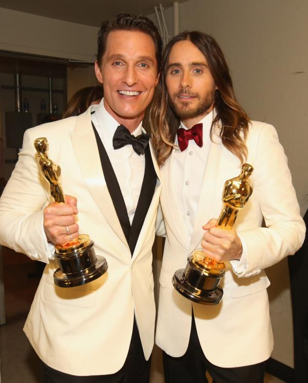 Best Actor and Best Supporting actors Matthew McConaughey and Jared Leto pose backstage during the Oscars held at Dolby Theatre on March 2, 2014 in Hollywood, California. (Christopher Polk/Getty Images)