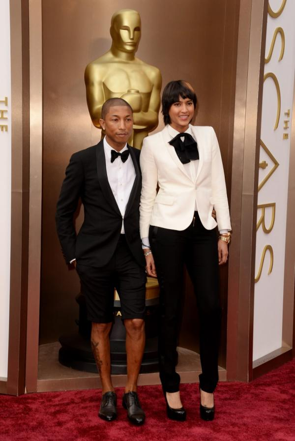 Musician Pharrell Williams and Helen Lasichanh attend the Oscars held at Hollywood & Highland Center on March 2, 2014 in Hollywood, California. (Jason Merritt/Getty Images)