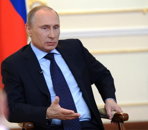 Russian President Vladimir Putin during his news conference Tuesday.