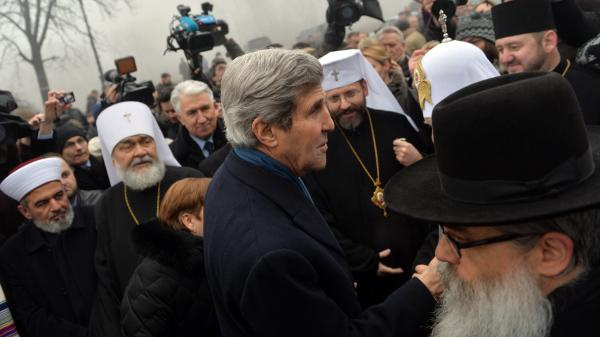 Secretary of State John Kerry speaks to religious leaders at the Shrine of the Fallen, a tribute to anti-government protesters, on Tuesday in Kiev, Ukraine.