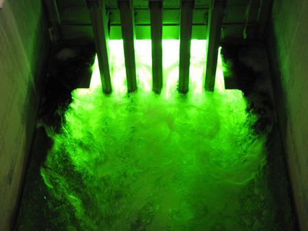 The treated water is disinfected under ultra-violet light bulbs in the final phase of reclamation. (Laurel Morales)