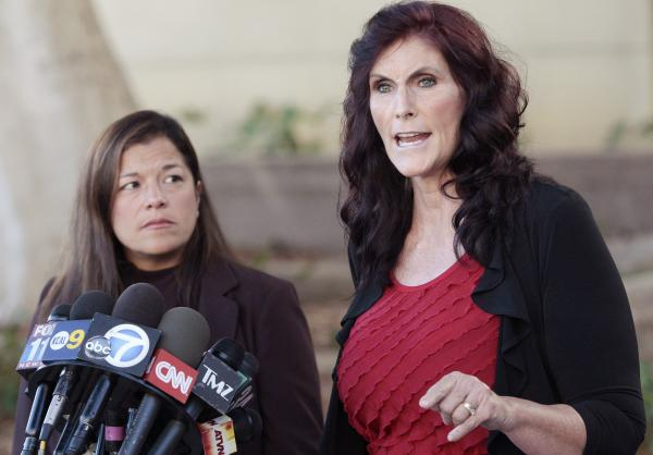 Actress Cindy Lee Garcia (right) brought a copyright claim against Google with the help of attorney Cris Armenta over the film <em>Innocence of Muslims</em>, which was posted to YouTube in 2012.