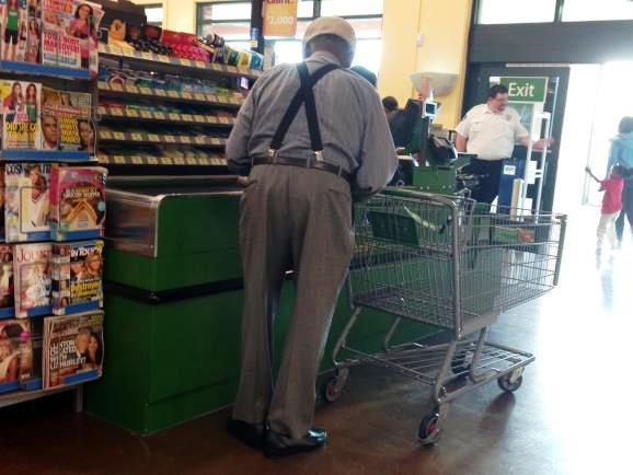 A shopper at the new Walmart Neighborhood Market in Midtown St. Petersburg.