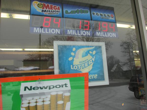 Lottery ads at the Hometown Pantry