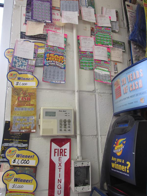 Winning lottery tickets displayed at the Hometown Pantry
