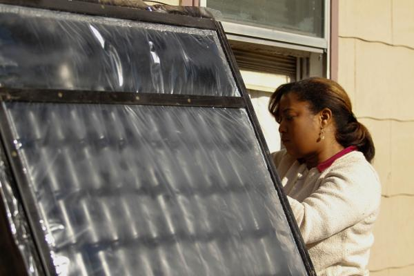 Metro State University students designed an inexpensive solar furnace to help heat homes in Denver's low-income Westwood neighborhood. (Jessica Taves/Metro State University)