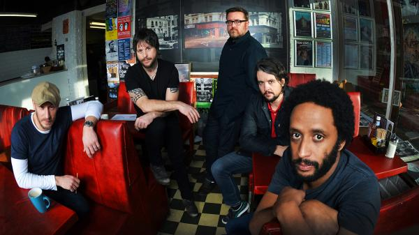 The men of Elbow, left to right: Richard Jupp, Mark Potter, Guy Garvey, Craig Potter, Pete Turner.